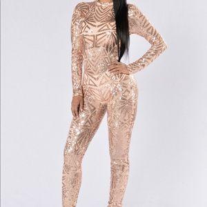 Fashion nova jumpsuit rose gold sequin